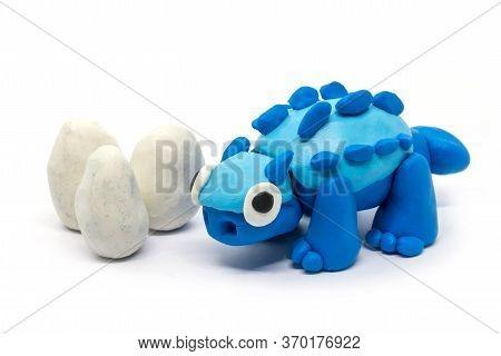 Play Dough Ankylosaurus And Egg On White Background