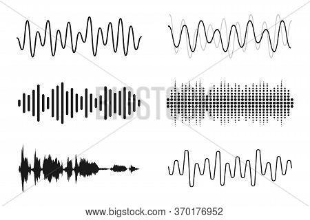Set Of Sound Waves. Analog And Digital Line Waveforms. Musical Sound Waves, Equalizer And Recording