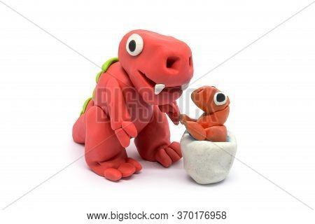Play Dough Tyrannosaurus And Egg On White Background