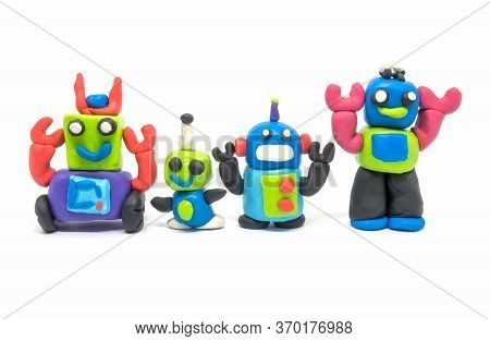Play Dough Group Robot On White Background