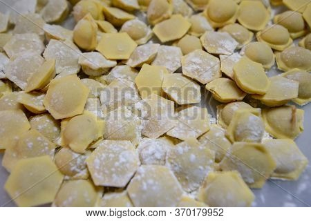 Russian Traditional Pelmeni With Meat. Uncooked Freshly Made Raw