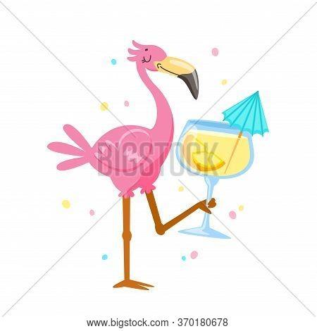 Pink Flamingo Drinking Cocktail. Cartoon Kawaii Bird Character On Summer Vacation. Cute Personage Su