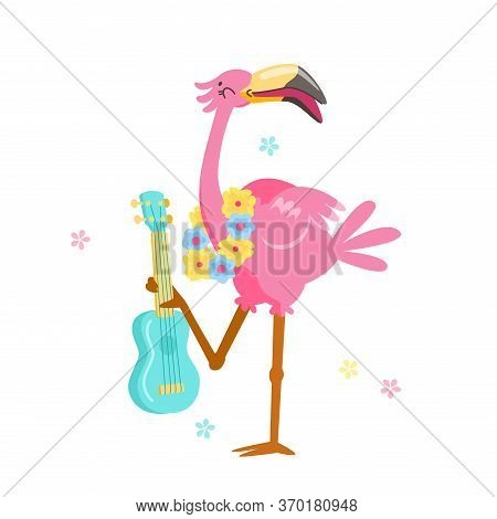 Cute Pink Flamingo In Flower Wreath Play Ukulele Isolated On White Background. Cartoon Character Sum