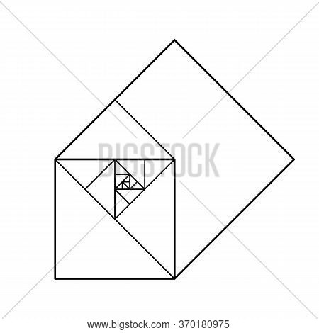 Squares In Golden Proportion. Minimalist Style Design. Golden Ratio. Geometric Shapes. Futuristic De