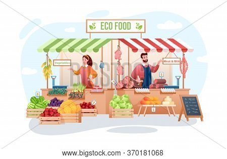 Farm Market Vector Illustration. Cartoon Flat Happy Man Woman Seller Characters Working, Farmer Peop