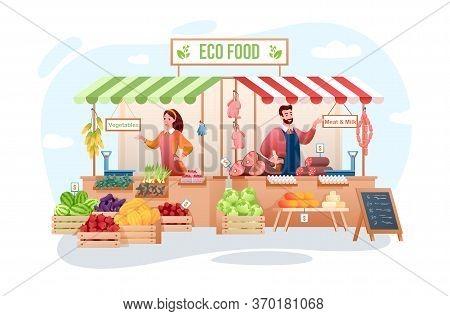 Farm Market Vector Illustration. Cartoon Flat Happy Man Woman Seller Characters Working, Farmer Peop