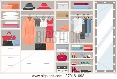 Open Wardrobe With Clothes Vector Illustration. Cartoon Flat Shelves Boxes With Woman Man Things, Sh