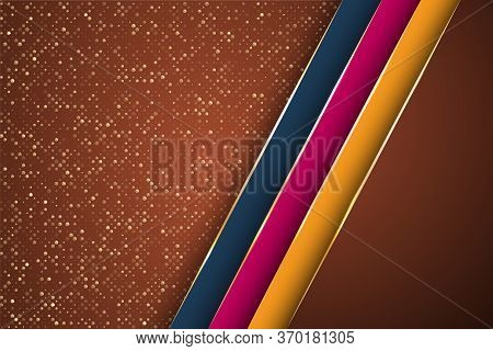 Gold Halftone Dots And Inclined Ribbon Stripes Banner Vector Design. Stylish Banner Background Templ
