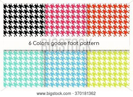Seamless Geometric Pattern Goose Foot, Hound Tooth Vector Illustration Set. Collection Of Colorful C