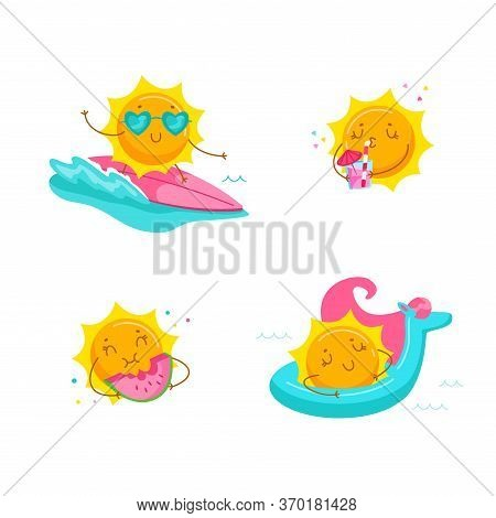 Set Of Cute Cartoon Sun Character Surfing On Sea Wave, Drink Cocktail, Eat Watermelon, Float Mattres