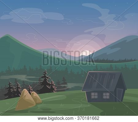 Mountain Landscape Vector Illustration. Cartoon Beautiful Summer Morning Or Evening Nature Scenery,