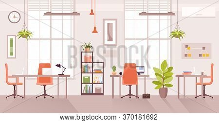 Office Workplace Vector Illustration. Cartoon Flat Modern Corporate Room Interior, Desk Table For Of