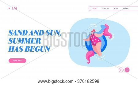 Resort, Summer Float Relax In Swimming Pool Landing Page Template. Female Character In Swimwear Enjo