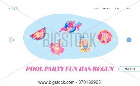Diverse People Men Women Having Fun, Relaxing On Summer Vacation Resort Landing Page Template. Chara
