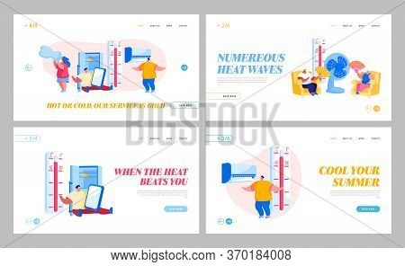 Characters In Summer Time Hot Period Landing Page Template Set. Sweltering In Heat Young And Aged Pe