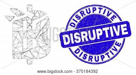 Web Mesh Bitcoin Damage Pictogram And Disruptive Seal Stamp. Blue Vector Round Distress Stamp With D