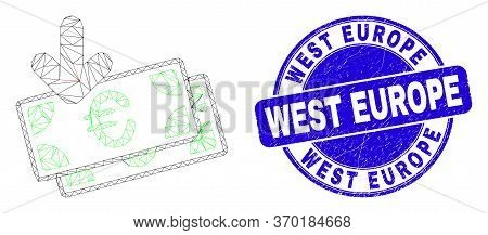Web Mesh Euro Banknotes Income Pictogram And West Europe Seal Stamp. Blue Vector Round Scratched Sea