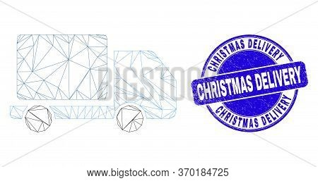 Web Carcass Lorry Icon And Christmas Delivery Stamp. Blue Vector Round Grunge Stamp With Christmas D