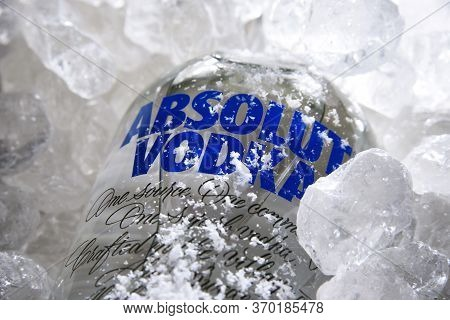 Bottle Of Absolut Vodka In Crushed Ice