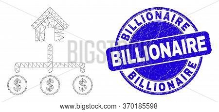 Web Mesh Bank Dollar Links Icon And Billionaire Stamp. Blue Vector Rounded Distress Stamp With Billi