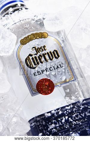 Bottles Of  Tequila Jose Cuervo In Crushed Ice