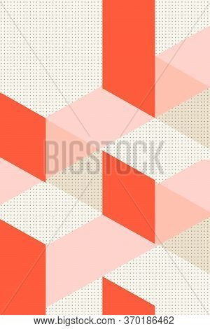 Colorful Geometric Cover Swiss Modernism. Red Pink And White Texture, Abstract Pattern Shapes Concep