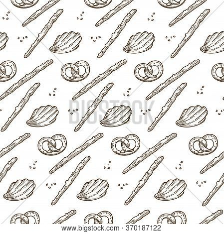 Traditional German Baked Pretzels, Salty Sticks Seamless Pattern