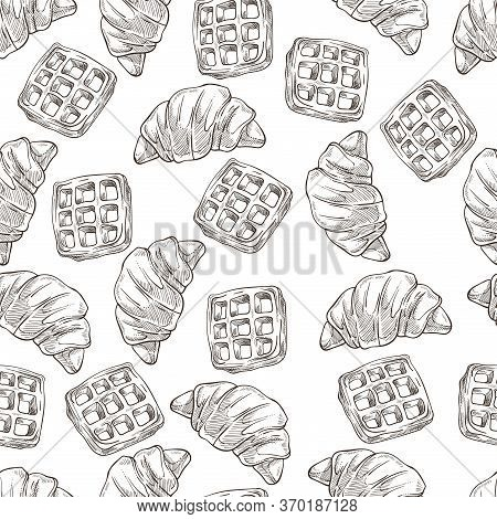 Croissants And Waffles, Desserts Baked Food Seamless Pattern