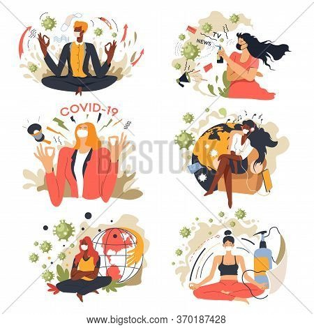Coronavirus Quarantine People Meditating, Stay Home Characters Set