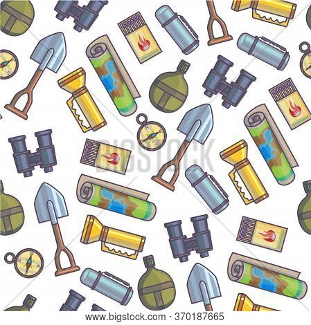 Expedition Kit, Map And Shovel For Traveling Seamless Pattern