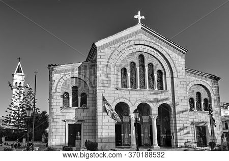 Orthodox Cathedral Of Saint Dionysus In The Capital Of Zakynthos Island In Greece, Black And White