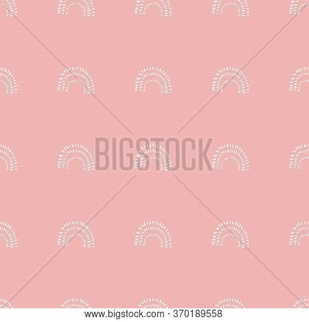 Simple Pink Rainbow Shapes, Curves, Arcs. U Shaped Abstract Seamless Pastel Pink And White Pattern.