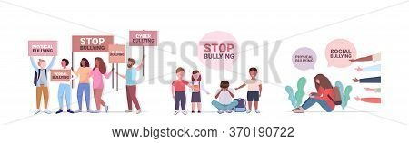 Set Stop Bullying Violence Social Anxiety Psychotherapy Concept Horizontal Full Length Vector Illust