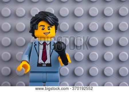 Tambov, Russian Federation - June 04, 2020 Portrait Of Lego Reporter Minifigure With Microphone Agai