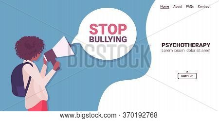 African American Woman Shouting Into Megaphone To Stop Bullying Depressed Girl Announcing With Louds