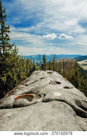 View From The Mountain Written Stone On The Mountain Landscape Of The Carpathians