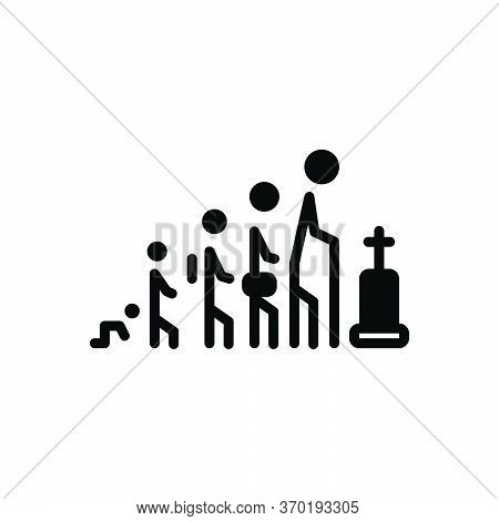 Black Solid Icon For Life Age Person Human Death Generation Process Cycle Age