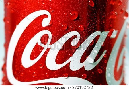 Tyumen, Russia-may 20, 2020: Coca Cola Drink Close Up Macro. Coca Cola Drinks Are Produced And Manuf