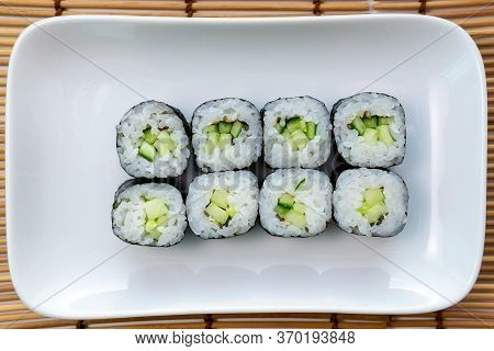Kappa Maki Classic Roll With Cucumber. Hosomaki Thin Rolls, Simple Rolls, Small Rolls, With Cucumber