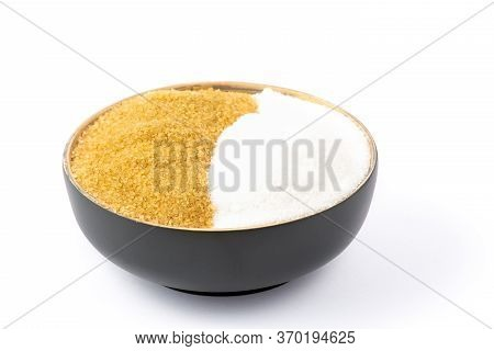 Brown Sugar In A Wooden Bowl Or Wooden Spoon Sugar For Health Use For Cooking Or Desserts On White A