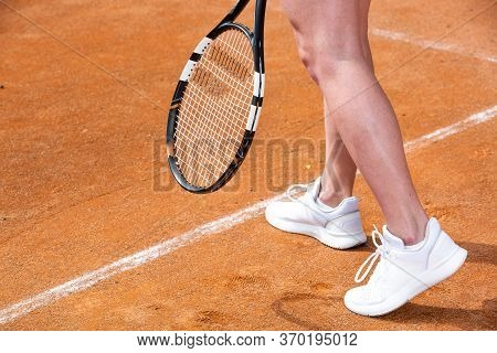 Professional Tennis Concept, Woman Tennis Player Playing Tennis Outside In The Tennis Court, Copyspa