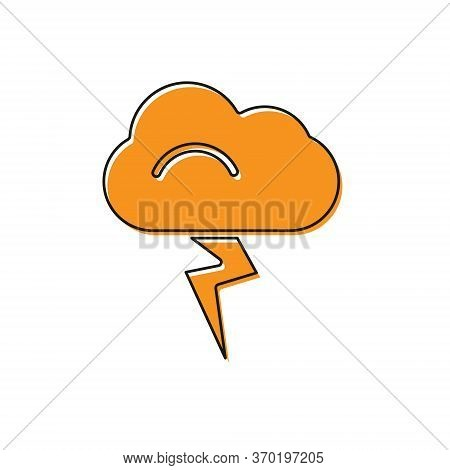 Orange Storm Icon Isolated On White Background. Cloud And Lightning Sign. Weather Icon Of Storm. Vec