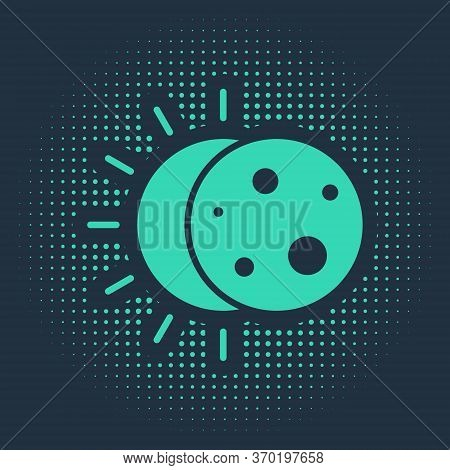 Green Eclipse Of The Sun Icon Isolated On Blue Background. Total Sonar Eclipse. Abstract Circle Rand