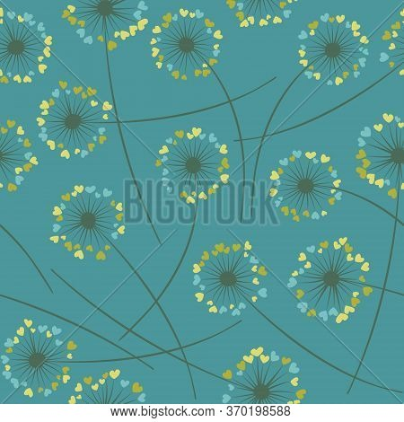 Cute Dandelion Blowing Vector Floral Seamless Pattern. Spring Flowers With Heart Shaped Fluff Flying