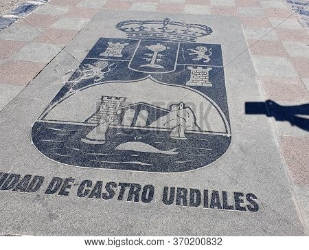 Castro Urdiales, Spain - 11 October 2019 : City Sign Harbour Of Castro Urdiales, Spain .the Town, Si