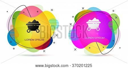 Color Coal Mine Trolley Icon Isolated On White Background. Factory Coal Mine Trolley. Abstract Banne