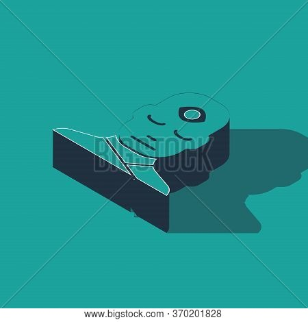 Isometric Man With Third Eye Icon Isolated On Green Background. The Concept Of Meditation, Vision Of