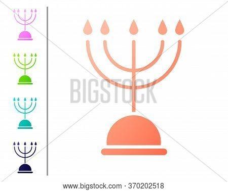 Coral Hanukkah Menorah Icon Isolated On White Background. Hanukkah Traditional Symbol. Holiday Relig