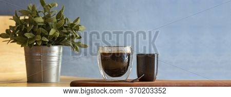 Banner Home Coffee Cup On Wood Table With Copy Space At Retro Coffee Shop. Vintage Interior Hot Blac