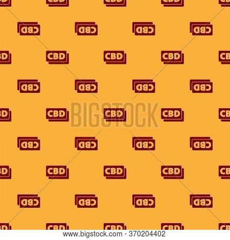 Red Cannabis Molecule Icon Isolated Seamless Pattern On Brown Background. Cannabidiol Molecular Stru